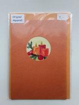 Karte orange mit Aquarell Kerzen