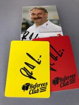 Set gelbe/rote Karte, signiert von Peter Neururer