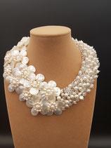 Collier Mariage, Perle de Culture d'eau douce, Cristal et Fleurs de Nacre
