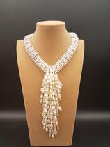 Collier de Mariage, Collier style Cravate, Perle de Culture d'eau douce rose.