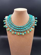 Collier, ras de cou, collier court, plastron cristal turquoise et vert