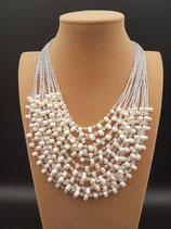 Collier, Collier de Mariage , Collier Perle de Culture d'eau douce, Cristal