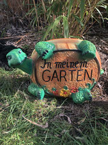 RIZW55 Schildkröte Gartenfigur mit Schild Willkommen