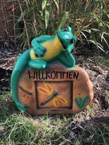 RIZW76 Frosch Gartenfigur mit Schild Willkommen