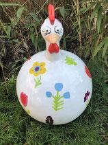 RIC368BL Huhn Figur mit Blumen groß