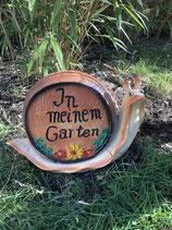 RIZW53 Schnecke Gartenfigur mit Schild Willkommen