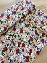 "Cotton Poplin Print ""Flowers Sand"""