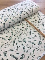 Cotton Jersey Leaves Dusty Green