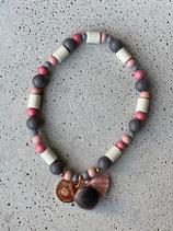 Hunde-Zecken-Halskette Altrosa-Grau