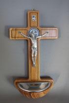 イタリア LALHW015 ベネディクトオリーブクロス 聖水盤  19×10,5センチ