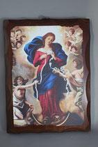 イタリア LALAN025 板絵&キャンバス 結び目を解く聖母 メープルWOOD 22×16.5センチ