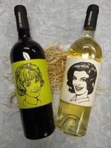 ②アメコミ風姉妹ラベルワイン赤・白セット