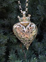 Herz mit Krone durchbrochen 925 Silber 32mm x 53mm