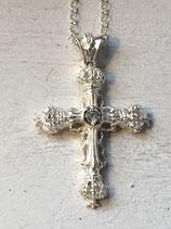 Wunderschönes Kreuz mit Kronen und Zirkoniasteinen 41mmx34mm AH152