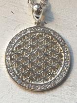 Blume des Lebens Amulett mit Aussenrand voll mit Zirkonia 34mm