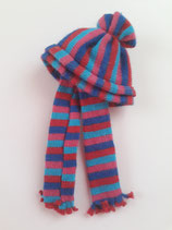 Children's Striped Blue & Pink Hat & Scarf Set