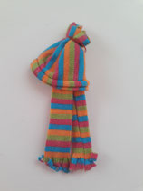 Children's Striped Orange Pink Blue & Green Hat & Scarf Set