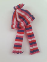 Children's Striped Pink & Purple Hat & Scarf Set