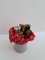 Decorated Basket With Wrapped Christmas Presents