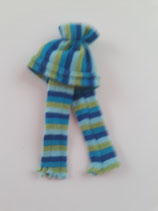 Children's Striped Blue & Green Hat & Scarf Set