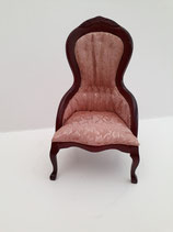Dusky Pink & Mahogany Ladies Victorian Chair