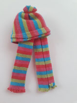 Children's Striped Pink Blue & Green Hat & Scarf Set