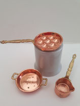 Vintage 3pc Metal Copper Cookware Set