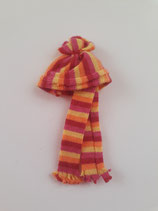 Children's Striped Pink Yellow & Orange Hat & Scarf Set