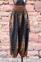 Pluderhose schwarz/braun gemustert