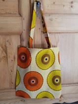 Tote-bag Wax cercles jaune/orange