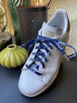 Lacets Wax blanc/bleu