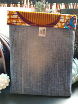 Housse pour liseuse jean/Wax ocre fleur bleu/jaune