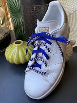 Lacets Wax bleu vif ronds blanc/brun