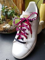 Lacets Wax rayé rose/bleu-gris