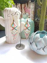 Boucles d'oreilles tissage franges rose/turquoise