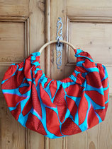 Sac boule Wax Turquoise feuilles rouge