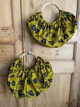 Sac Boule Wax jaune feuilles marine