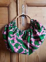 Sac boule Wax fond marbré rose/blanc motifs verts