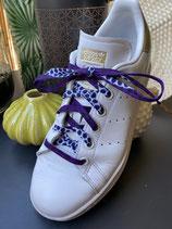 Lacets Wax violet/blanc
