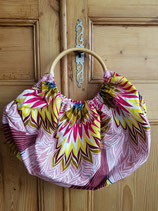Sac boule Wax rose palme multicolore