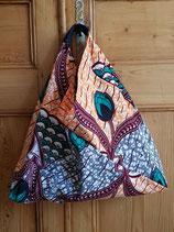 Sac origami Wax corail/gris
