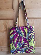 Tote-Bag Wax jaune feuilles fuschia