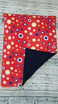 Kuscheldecke Sterne Blau - Weiß - Grün - Gelb - Rot / Dunkelblau