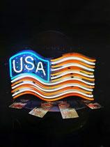 Amerika Flagge Diner Neon-Werbung Leuchtreklame USA Deko Licht Halle