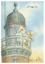 20-07 Zwei Besucher/Leuchtturm Holtenau