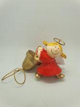 Engel klein rot mit Glocke am Seil Aufhänger