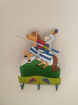 Haken Ritter auf Pferd mit drei Aufhängern