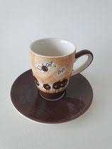 Espresso Tasse Kaffebohnen Flügel