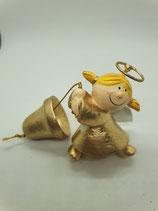 Engel klein gold mit Glocke am Seil Aufhänger