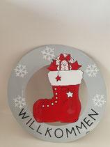 Willkommensschild Weihnachtsstiefel